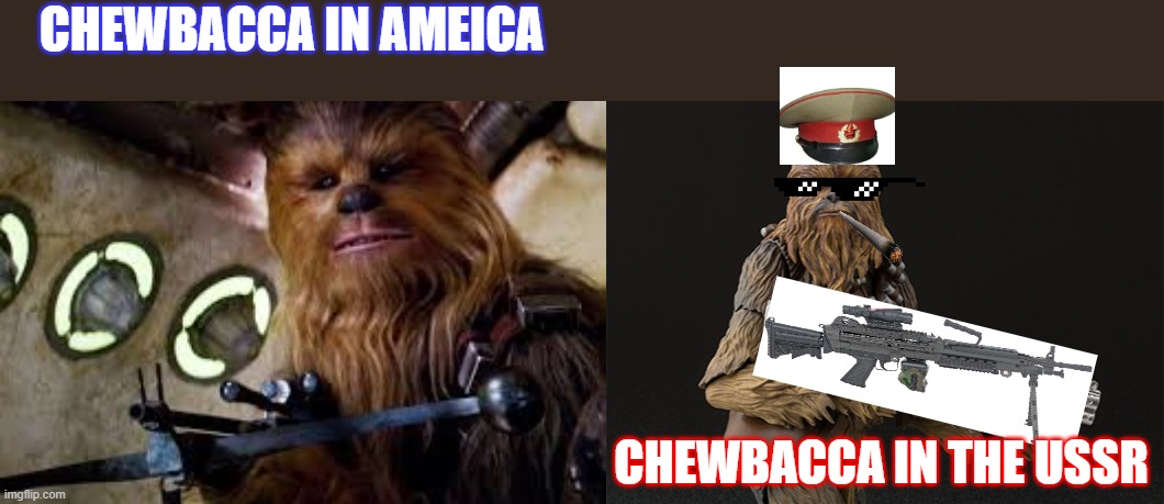 america vs ussr #2 |  CHEWBACCA IN AMEICA; CHEWBACCA IN THE USSR | image tagged in funny,russia,ussr,america,lol,star wars | made w/ Imgflip meme maker