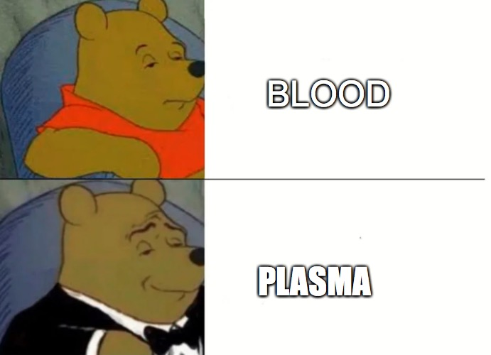 pLaSmA |  BLOOD; PLASMA | image tagged in fancy winnie the pooh meme | made w/ Imgflip meme maker