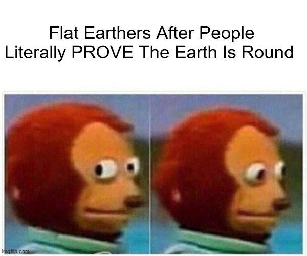 Monkey Puppet Meme |  Flat Earthers After People Literally PROVE The Earth Is Round | image tagged in memes,monkey puppet,flat earth,flat earthers,earth,space | made w/ Imgflip meme maker