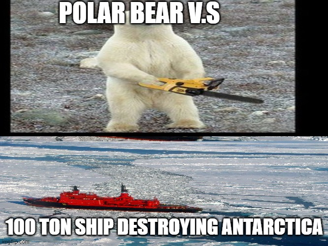 Polar Bear Payback |  POLAR BEAR V.S; 100 TON SHIP DESTROYING ANTARCTICA | image tagged in chainsaw bear | made w/ Imgflip meme maker