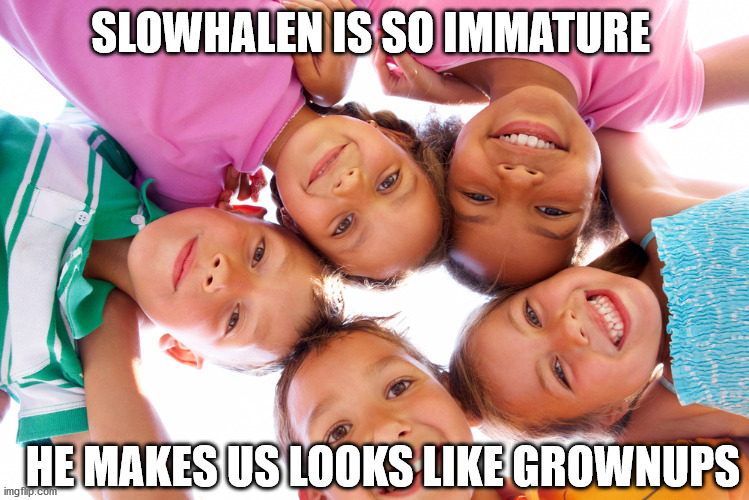 SLOWHALEN IS SO IMMATURE HE MAKES US LOOKS LIKE GROWNUPS | made w/ Imgflip meme maker