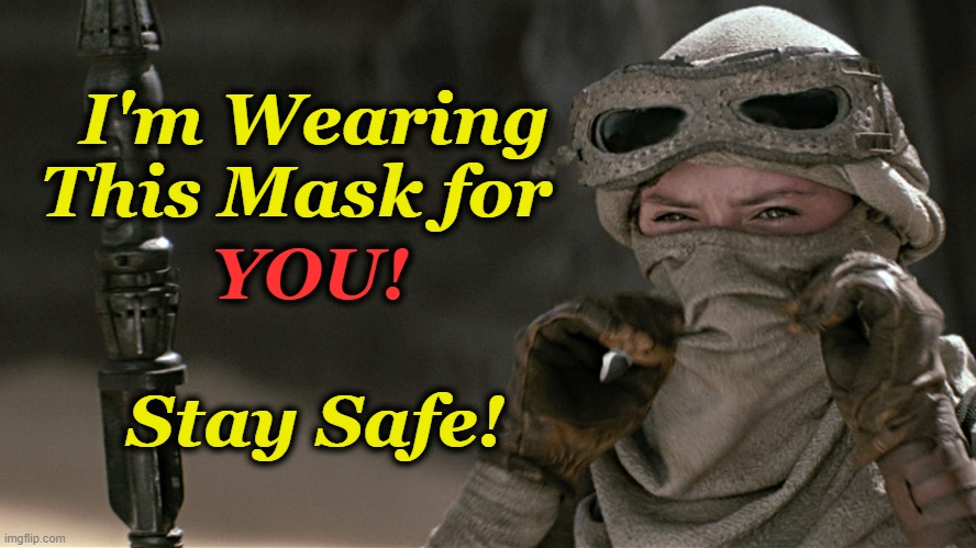 Stay Safe |  I'm Wearing This Mask for; YOU! Stay Safe! | image tagged in mask,coronavirus,rey,star wars | made w/ Imgflip meme maker