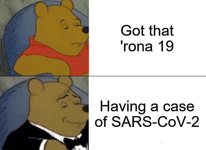 Tuxedo Winnie The Pooh Meme |  Got that 'rona 19; Having a case of SARS-CoV-2 | image tagged in memes,tuxedo winnie the pooh | made w/ Imgflip meme maker