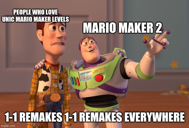 X, X Everywhere Meme |  PEOPLE WHO LOVE UNIC MARIO MAKER LEVELS; MARIO MAKER 2; 1-1 REMAKES 1-1 REMAKES EVERYWHERE | image tagged in memes,x x everywhere | made w/ Imgflip meme maker