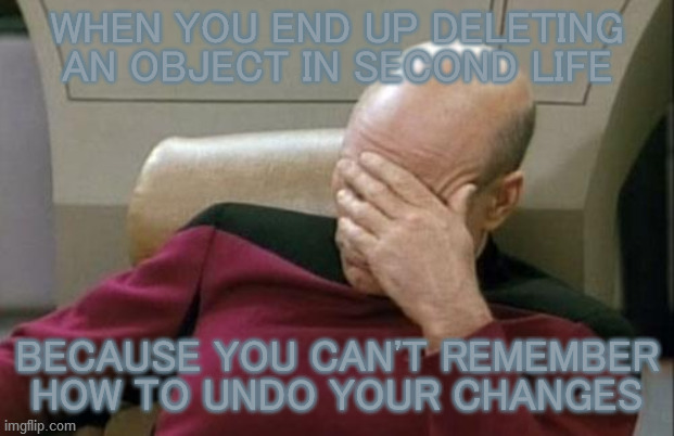 Ctrl+Z. That's what you're looking for. Ctrl+Z. |  WHEN YOU END UP DELETING AN OBJECT IN SECOND LIFE; BECAUSE YOU CAN'T REMEMBER HOW TO UNDO YOUR CHANGES | image tagged in captain picard facepalm,second life,keyboard,shortcut,forgetting,fail | made w/ Imgflip meme maker