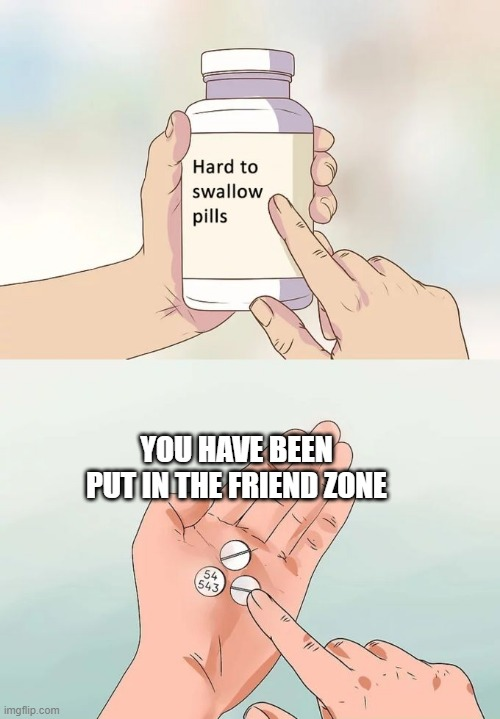 Hard To Swallow Pills Meme |  YOU HAVE BEEN PUT IN THE FRIEND ZONE | image tagged in memes,hard to swallow pills | made w/ Imgflip meme maker