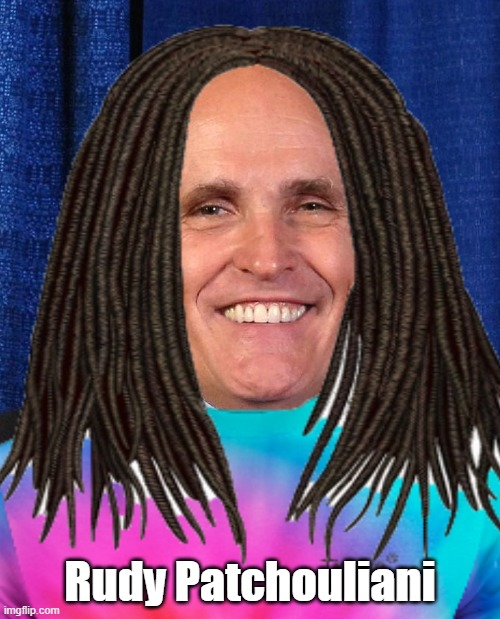 Rudy Patchouliani |  Rudy Patchouliani | image tagged in rudy giuliani,wook,dreads,tiedye | made w/ Imgflip meme maker