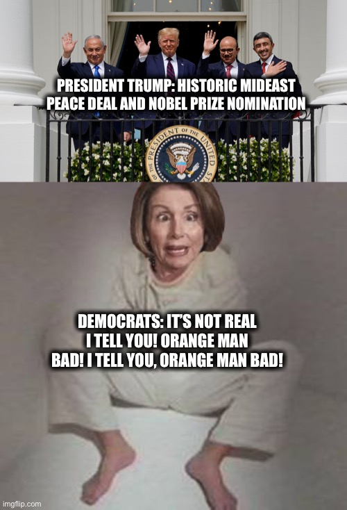 Democrats |  PRESIDENT TRUMP: HISTORIC MIDEAST PEACE DEAL AND NOBEL PRIZE NOMINATION; DEMOCRATS: IT'S NOT REAL I TELL YOU! ORANGE MAN BAD! I TELL YOU, ORANGE MAN BAD! | image tagged in president trump,democrats,memes,world peace,liberal logic,democratic party | made w/ Imgflip meme maker