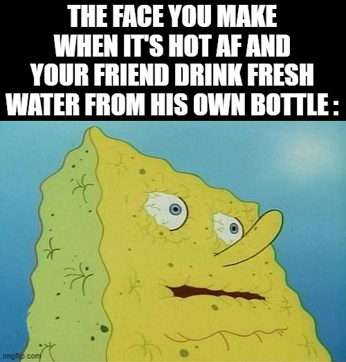 Why are you doing this to me, you traitor !!! |  THE FACE YOU MAKE WHEN IT'S HOT AF AND YOUR FRIEND DRINK FRESH WATER FROM HIS OWN BOTTLE : | image tagged in memes,thirsty spongebob,hot | made w/ Imgflip meme maker