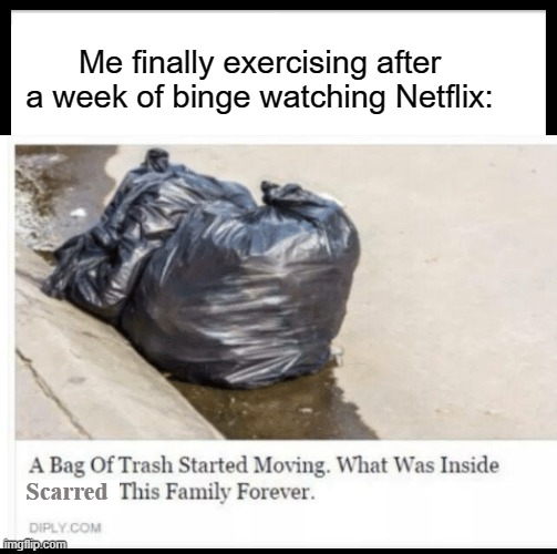 Hello, It is I, trash. :) |  Me finally exercising after a week of binge watching Netflix:; Scarred | image tagged in trash,fun | made w/ Imgflip meme maker