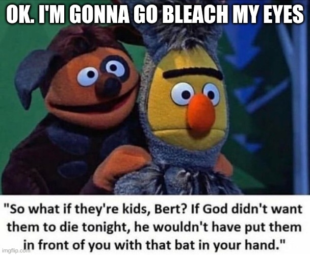 OK. I'M GONNA GO BLEACH MY EYES | image tagged in bert and ernie | made w/ Imgflip meme maker