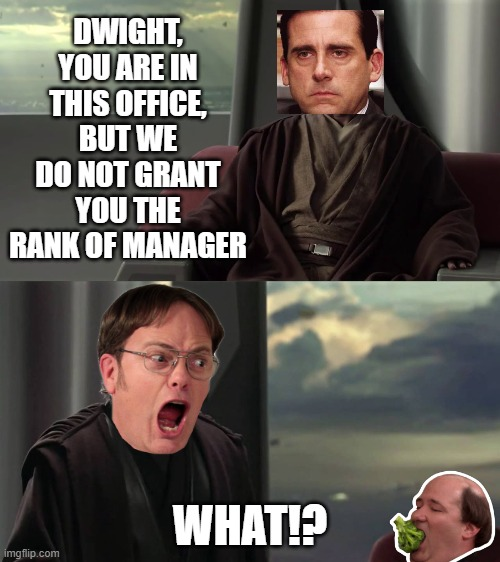 This is outrageous. It's unfair! |  DWIGHT, YOU ARE IN THIS OFFICE, BUT WE DO NOT GRANT YOU THE RANK OF MANAGER; WHAT!? | image tagged in you are blank but we do not grant you blank,star wars,office,the office | made w/ Imgflip meme maker