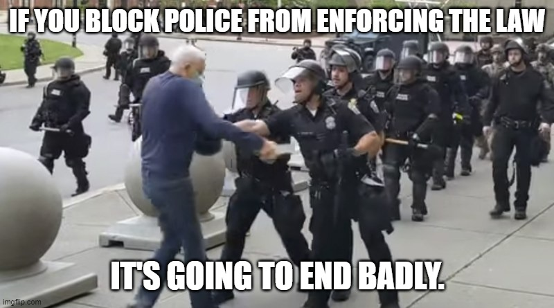IF YOU BLOCK POLICE FROM ENFORCING THE LAW IT'S GOING TO END BADLY. | made w/ Imgflip meme maker