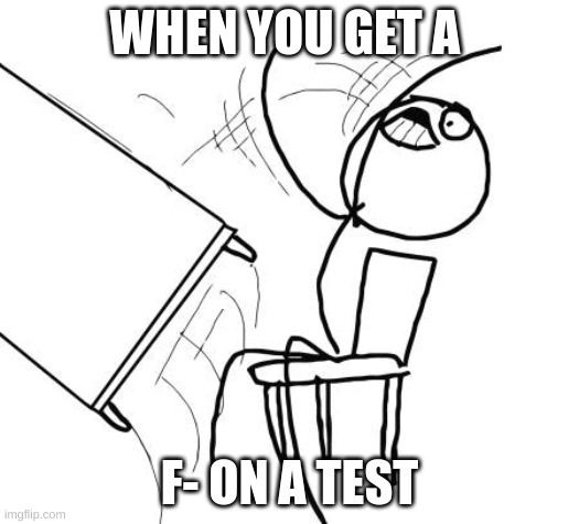 Table Flip Guy |  WHEN YOU GET A; F- ON A TEST | image tagged in memes,table flip guy | made w/ Imgflip meme maker