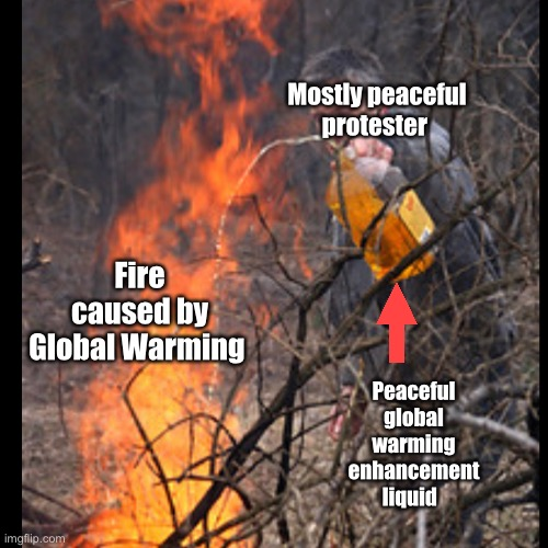 Anatomy of a climate change wildfire |  Fire caused by Global Warming; Mostly peaceful protester; Peaceful global warming enhancement liquid | image tagged in wildfires,protesters,climate change,cnn | made w/ Imgflip meme maker