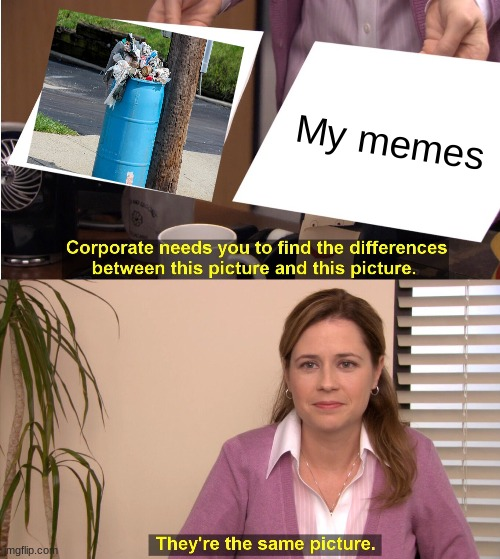 Trash = My memes |  My memes | image tagged in memes,they're the same picture,trash,my memes | made w/ Imgflip meme maker