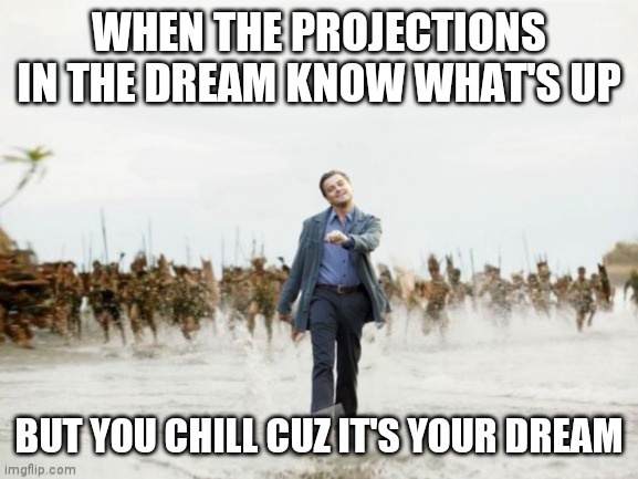 Inception |  WHEN THE PROJECTIONS IN THE DREAM KNOW WHAT'S UP; BUT YOU CHILL CUZ IT'S YOUR DREAM | image tagged in inception,captain jack sparrow | made w/ Imgflip meme maker