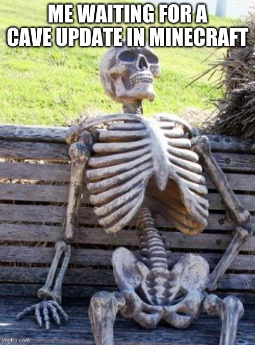 Waiting Skeleton |  ME WAITING FOR A CAVE UPDATE IN MINECRAFT | image tagged in memes,waiting skeleton | made w/ Imgflip meme maker