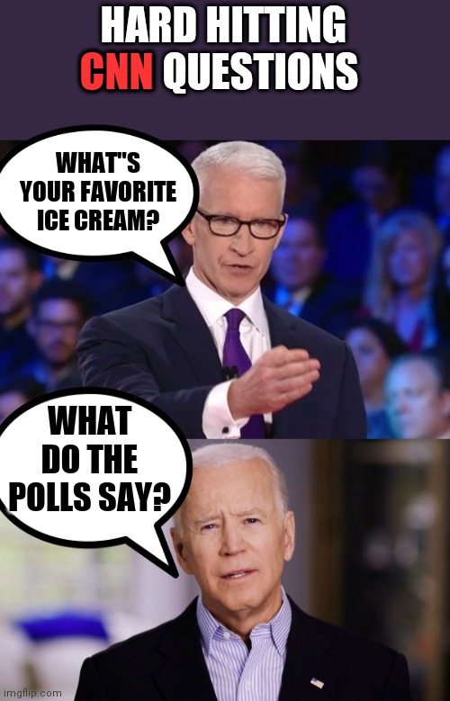 "HARD HITTING CNN QUESTIONS; CNN; WHAT""S YOUR FAVORITE ICE CREAM? WHAT DO THE POLLS SAY? 