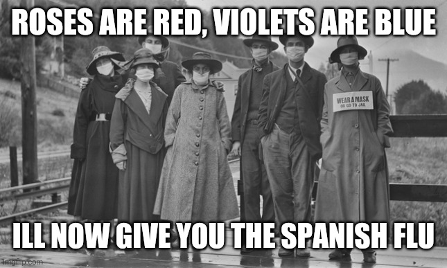 *cough cough* |  ROSES ARE RED, VIOLETS ARE BLUE; ILL NOW GIVE YOU THE SPANISH FLU | image tagged in 1918,spanish flu,memes,dark humor,roses are red | made w/ Imgflip meme maker
