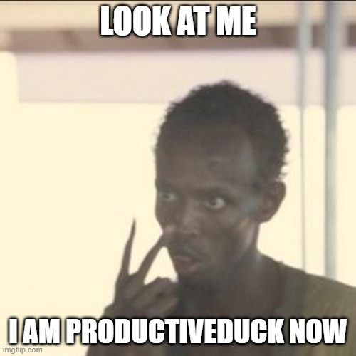 Yes I am |  LOOK AT ME; I AM PRODUCTIVEDUCK NOW | image tagged in memes,look at me,productiveduck | made w/ Imgflip meme maker