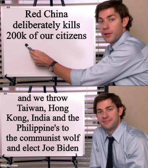 yep |  Red China deliberately kills 200k of our citizens; and we throw Taiwan, Hong Kong, India and the Philippine's to the communist wolf and elect Joe Biden | image tagged in democrats,communism,joe biden,red china,2020 elections | made w/ Imgflip meme maker