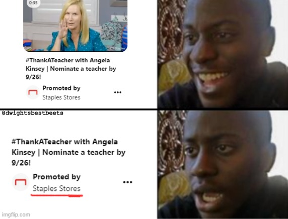 Angela how could you... |  @dwightsbestbeets | image tagged in oh yeah oh no,theoffice | made w/ Imgflip meme maker
