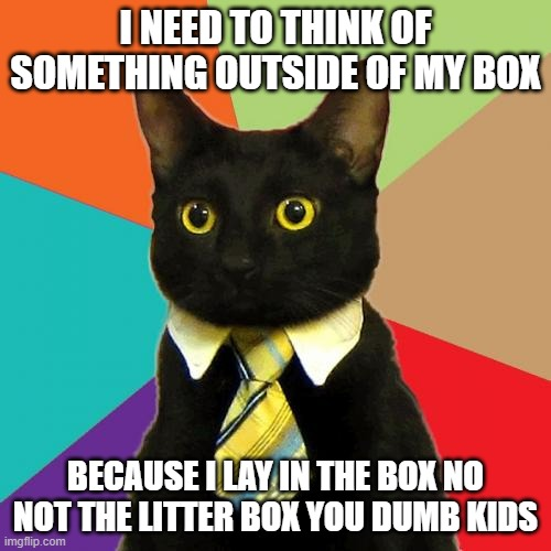 Business Cat |  I NEED TO THINK OF SOMETHING OUTSIDE OF MY BOX; BECAUSE I LAY IN THE BOX NO NOT THE LITTER BOX YOU DUMB KIDS | image tagged in memes,business cat,funny | made w/ Imgflip meme maker