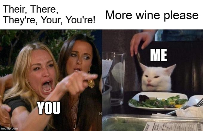 Their, There, They're, Your, You're! More wine please YOU ME | image tagged in memes,woman yelling at cat | made w/ Imgflip meme maker