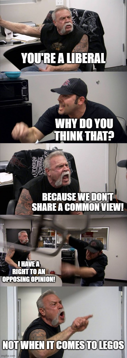 You're a Liberal |  YOU'RE A LIBERAL; WHY DO YOU THINK THAT? BECAUSE WE DON'T SHARE A COMMON VIEW! I HAVE A RIGHT TO AN OPPOSING OPINION! NOT WHEN IT COMES TO LEGOS | image tagged in memes,american chopper argument | made w/ Imgflip meme maker