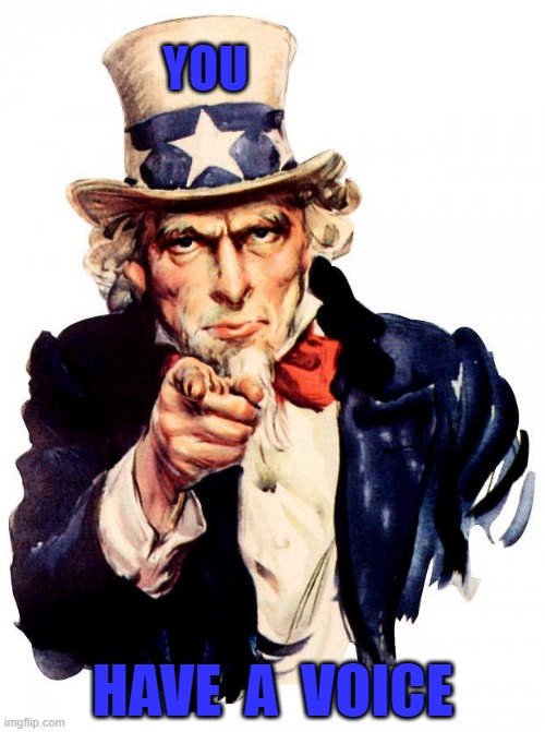 Uncle Sam Meme |  YOU; HAVE  A  VOICE | image tagged in memes,uncle sam | made w/ Imgflip meme maker