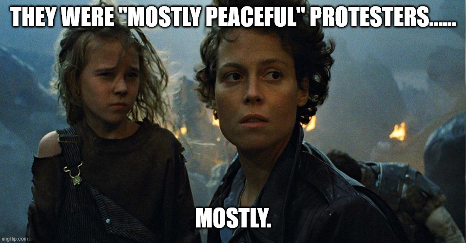 "Peaceful protests......... |  THEY WERE ""MOSTLY PEACEFUL"" PROTESTERS...... MOSTLY. 