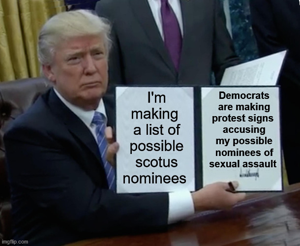 Straight from the Democrat playbook. |  I'm making  a list of possible scotus nominees; Democrats are making protest signs  accusing my possible nominees of sexual assault | image tagged in memes,trump bill signing,democrats,leftists,stupid liberals,scotus | made w/ Imgflip meme maker