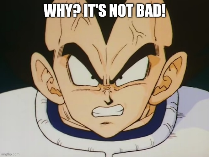 Angry Vegeta (DBZ) | WHY? IT'S NOT BAD! | image tagged in angry vegeta dbz | made w/ Imgflip meme maker