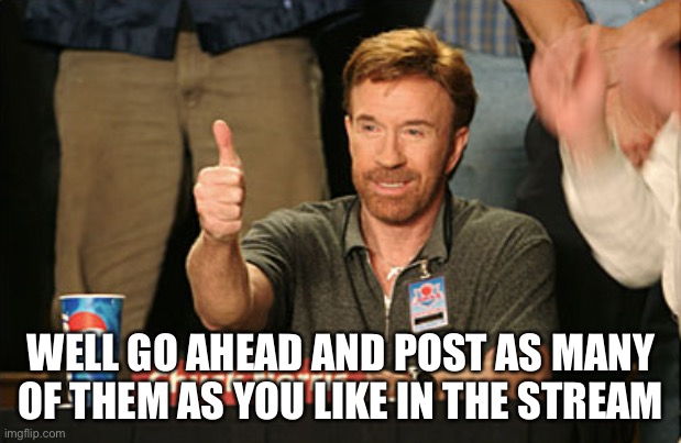 Chuck Norris Approves Meme | WELL GO AHEAD AND POST AS MANY OF THEM AS YOU LIKE IN THE STREAM | image tagged in memes,chuck norris approves,chuck norris | made w/ Imgflip meme maker