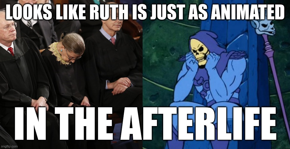 Not much changed |  LOOKS LIKE RUTH IS JUST AS ANIMATED; IN THE AFTERLIFE | image tagged in sad skeletor,ruth bader ginsburg | made w/ Imgflip meme maker