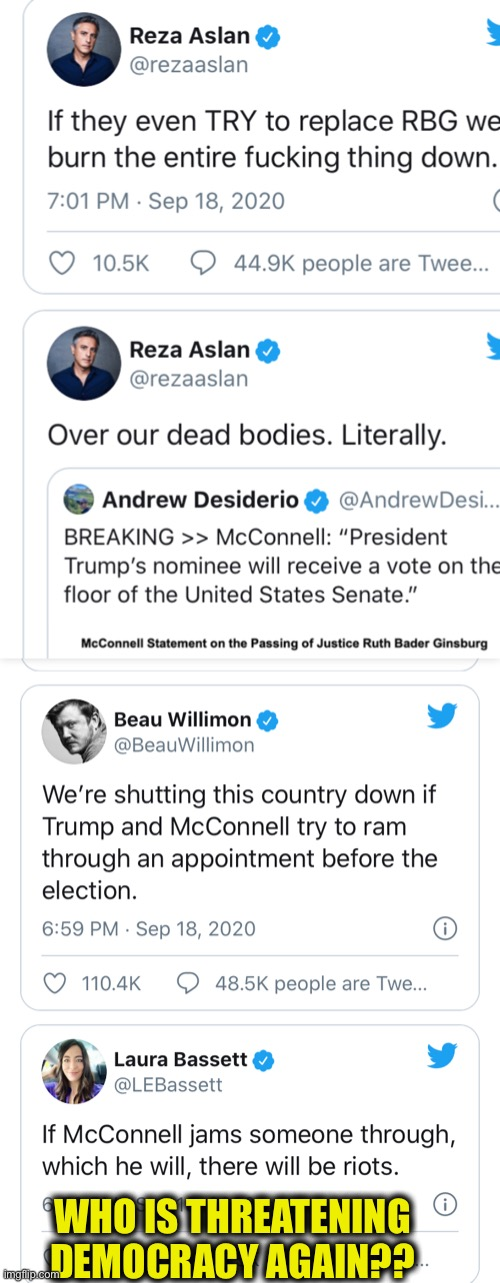 The left has declared war on this country if they don't get what they want. |  WHO IS THREATENING DEMOCRACY AGAIN?? | image tagged in liberal logic,liberal hypocrisy,democrats,democratic party,ruth bader ginsburg,memes | made w/ Imgflip meme maker