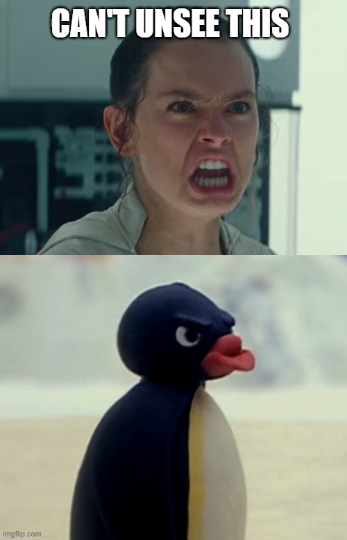 Rey makes a Pingu-impression |  CAN'T UNSEE THIS | image tagged in memes,star wars,pingu | made w/ Imgflip meme maker