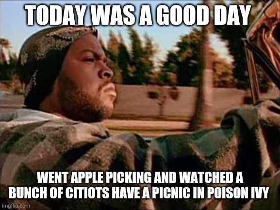 Today Was A Good Day |  TODAY WAS A GOOD DAY; WENT APPLE PICKING AND WATCHED A BUNCH OF CITIOTS HAVE A PICNIC IN POISON IVY | image tagged in memes,today was a good day | made w/ Imgflip meme maker