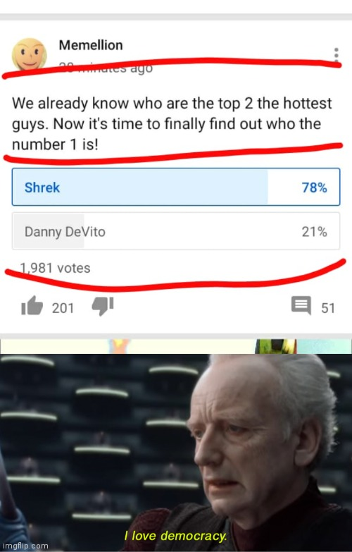 image tagged in i love democracy,shrek,danny devito | made w/ Imgflip meme maker