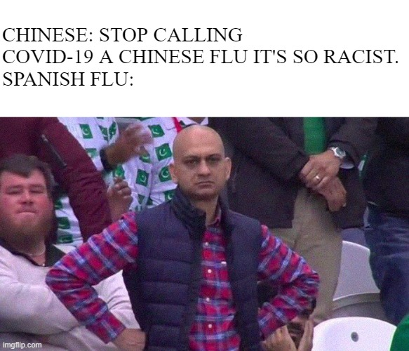 Pandemic |  CHINESE: STOP CALLING COVID-19 A CHINESE FLU IT'S SO RACIST. SPANISH FLU: | image tagged in angry pakistani fan | made w/ Imgflip meme maker