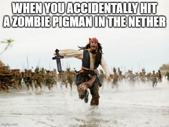 Jack Sparrow Being Chased Meme |  WHEN YOU ACCIDENTALLY HIT A ZOMBIE PIGMAN IN THE NETHER | image tagged in memes,jack sparrow being chased | made w/ Imgflip meme maker