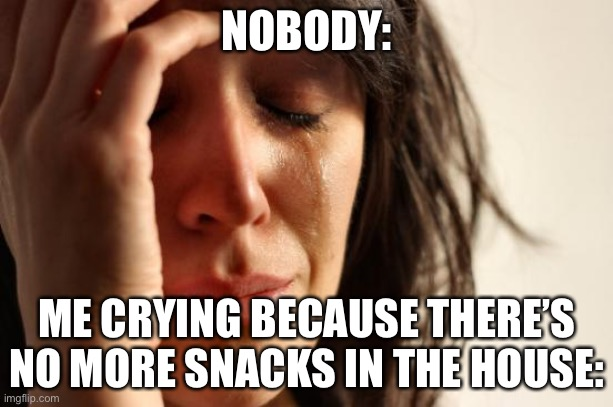 First World Problems |  NOBODY:; ME CRYING BECAUSE THERE'S NO MORE SNACKS IN THE HOUSE: | image tagged in memes,first world problems | made w/ Imgflip meme maker