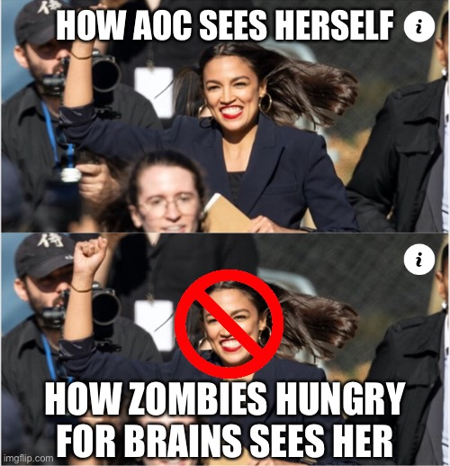 Starving For Knowledge |  HOW AOC SEES HERSELF; HOW ZOMBIES HUNGRY FOR BRAINS SEES HER | image tagged in aoc,alexandria ocasio cortez,zombies,brains | made w/ Imgflip meme maker