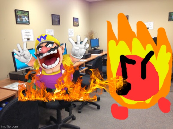 Wario dies from Fireball's Fire breath after trying to find out what color Esper's underwear is.mp3 | image tagged in wario dies,wario,fireball,ocs,memes | made w/ Imgflip meme maker