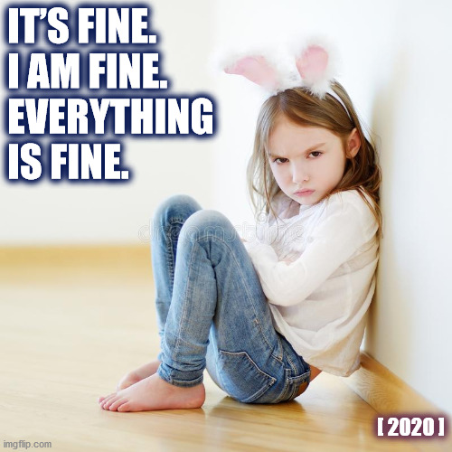2020 IS JUST FINE |  IT'S FINE. I AM FINE. EVERYTHING IS FINE. [ 2020 ] | image tagged in 2020,corona virus,corona,angry girl,i'm fine,bunny | made w/ Imgflip meme maker