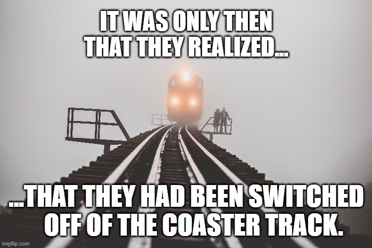 Nobody pays attention on the way up.... |  IT WAS ONLY THEN THAT THEY REALIZED... ...THAT THEY HAD BEEN SWITCHED    OFF OF THE COASTER TRACK. | image tagged in memes,funny memes,train,rollercoaster | made w/ Imgflip meme maker