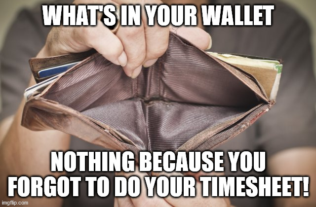 What's In Your Wallet |  WHAT'S IN YOUR WALLET; NOTHING BECAUSE YOU FORGOT TO DO YOUR TIMESHEET! | image tagged in timesheet reminder,timesheet meme,ain't nobody got time for that,timesheet i've failed you | made w/ Imgflip meme maker
