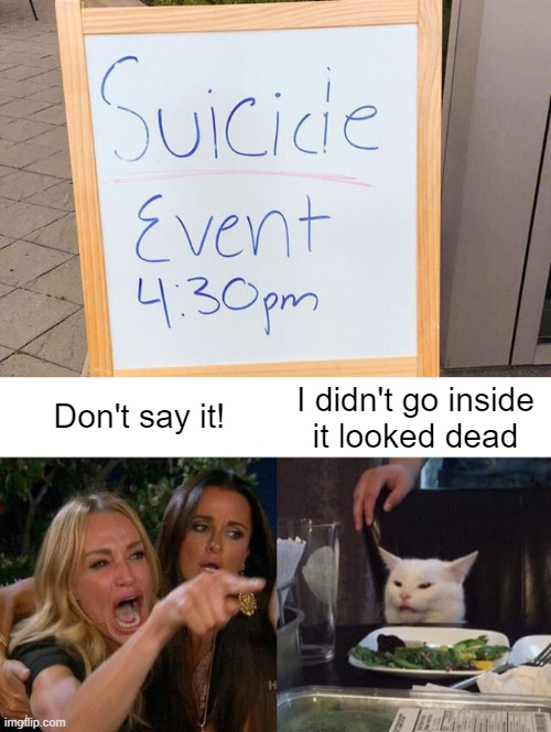 Who holds one of those? |  I didn't go inside it looked dead; Don't say it! | image tagged in memes,woman yelling at cat,suicide event,looked dead | made w/ Imgflip meme maker