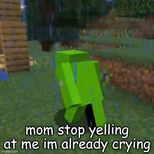 sad dream in the rain |  mom stop yelling at me im already crying | image tagged in sad dream,meme,minecraft,rain | made w/ Imgflip meme maker